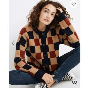 New Madewell checkered cardigan sweater